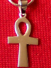 SSINGLE STERLING SILVER 15mm HOOP EARRING with 15mm.ANKH CROSS PENDANT £10.50NWT