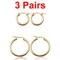 3 Pairs 18k Yellow Gold Plated Huggie Hoop Sleeper Earrings AUS MADE