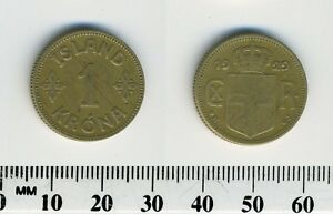Iceland 1929 - 1 Krona Aluminum-Bronze Coin - Christian X - Crowned arms