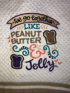 Embroidered Striped Kitchen Hand Towel We go together like Peanut Butter & Jelly
