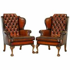 PAIR OF CHESTERFIELD CLAW & BALL LUXURY WINGBACK ARMCHAIRS CIGAR BROWN LEATHER