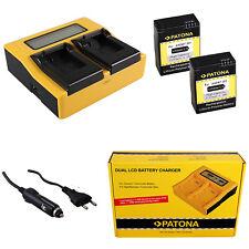 2x Batteria Patona + caricabatteria rapido DUAL LCD per GoPro HD HERO 3