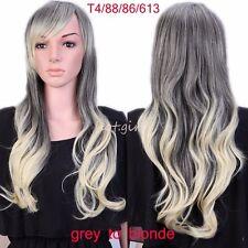 Womens Long Full Head Wigs Ombre Dip Dye Brown Blonde Black Mix Hair Cosplay Wig
