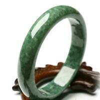 Elegant Women Chinese Beautiful Natural Green Jade Bracelet Gems Bangle 55- F6O1