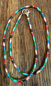 """❤️ SILPADA necklace N0845 Turquoise Red Multi Colored Bead Sterling Silver 16"""""""
