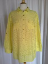 SIZE XL - NEW $52.00 DANA BUCHMAN Yellow Cobblestone 2/3 Button Down Sheer Shirt
