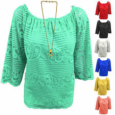 Lace Scoop Neck 3/4 Sleeve Casual Tops & Shirts for Women