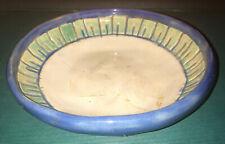 """Vintage Art Deco Pottery Bowl """"E H"""" Lovely Celadon & Blue Glaze-6"""""""