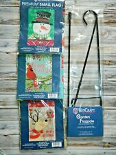 "Garden Flag Pole w/3 Xmas Flags Snowman Reindeer Cardinal 12""x18"" Decoration New"