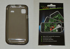 Grey / Smoke TPU Soft Gel Skin Case & Screen Protector For Samsung Vibrant T959