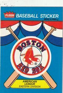 FREE SHIPPING-MINT-1989 BOSTON RED SOX FLEER BASEBALL CARD STICKER