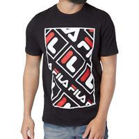 FILA Men's ADAO T-Shirt Stacked Squared Logos Retro Sporty Crewneck BLACK WHITE