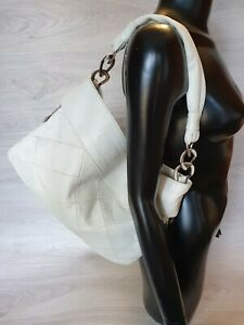 Authentic Chanel White Quilted Shoulder Bag Hobo Chains Tote Used