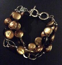 Silpada Bronze Coin Pearl, Smoky Quartz, Sterling Silver Bracelet B1850 EUC