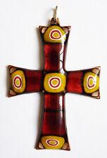 Croix pendentif en émail vers 1920 Bijou cross enamel