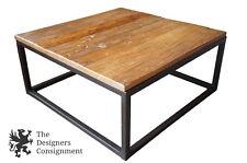 Arhaus Modern Palmer Coffee Table Mango Wood Square Iron Base Plank Bali Brown