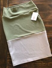 LuLaRoe Cassie Size Small Gray and Olive/Army Green Color Block Pencil Skirt NWT
