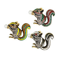 3Pcs Crystal Squirrel Animal Brooch Pin Women Jewelry Costume Party Corsage