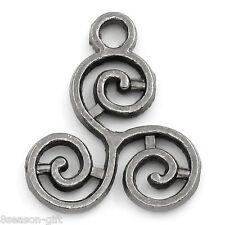 50PCs Gift Gunmetal Celtic Triskelion Charm Pendants 16x13mm