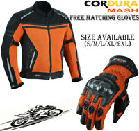 ORANGE BLACK MESH AIR VENT CE ARMOUR SUMMER MOTORBIKE MOTORCYCLE JACKET & GLOVES