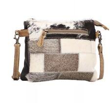 Myra Bag Mosaic Hairon Small Crossbody Bag Leather & Hairon Zip Top 9.5 X 7.5x2