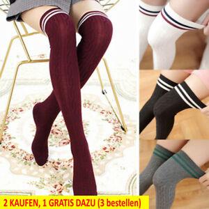 Damen Overknee Stulpen Strick Überknie Cheerleader Kniestrümpfe Strümpfe Socken.