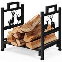 "18"" Firewood Log Rack Wood Lumber Storage Holder for Fireplace Stove Fire Pit"