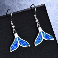 Fashion Silver Fish tail Charm Blue Imitation Opal Hook Drop Dangle Earrings