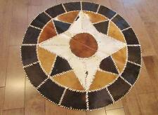100% Authentic Egyptian Genuine Hair Cowhide Leather Patchwork Rug Carpet - #120