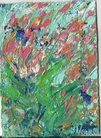 FLOWERS AKIMBO Original Acrylic Landscape Knife Garden Painting ACEO ART TEXTURE