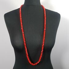 STATEMENT Long Red Necklace Glass Beaded Art Deco Flapper Style Gatsby Party