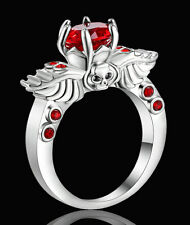 5.80/ct Red Ruby Skull Wedding Ring Silver Rhodium Plated Punk Jewelry Size 7