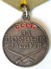 Soviet Russian WWII Medal for Battle Merit No: 800389 USSR Military Silver Award