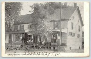 Creamery Pennsylvania~Perry B Hunsicker's General Store~1909 B&W Postcard