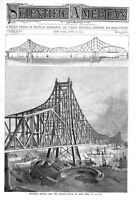 Proposed Bridge Over the Hudson River, At New York  -  1894 Engraving