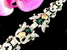 ELEGANT 1940 PHILIPPE CROWN TRIFARI EMERALD BEAD EMPRESS EUGENIE LINK BRACELET