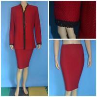 St. John Evening Knits Red Jacket Skirt L 10 12 2pc Suit Black Trims Metallic