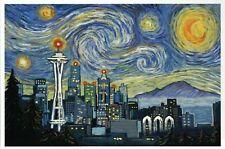 Seattle Washington Skyline as Van Gogh Starry Night, Space Needle etc - Postcard