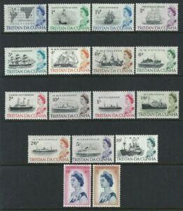 Tristan da Cunha 1965, Ships - Definitive Set of 17 sg71/84b MNH - Cat £50