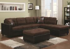 Chocolate Microfiber Sectional Sofa w/ Reversible Chaise Lounge Living Room Set