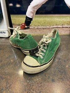 Vintage 60s 1970s Converse Chuck Taylor Black Label Green Low Made in USA Sz 6