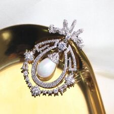 Art Nouveau Antique Opens Pave CZ Ribbon Bow Imitated Pearl Drop Brooch Silver