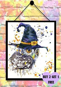 BUY 2 GET 1 FREE HALLOWEEN OWL HAT WATERCOLOUR PRINT A4