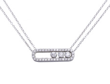 Paris Move Pave Jewelry Sterling Silver Necklace Pendant