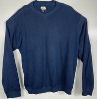 Tommy Bahama V-Neck Knit Sweater Mens Size Large Navy Blue Silk Cotton Blend EUC
