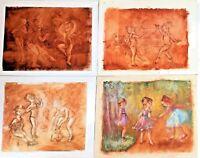 4 PORTRAITS OF DANCING GIRLS. OIL ON CANVAS. MONTSERRAT BARTA. SPAIN. 20TH.