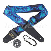 Blue Fire Skull Skeleton Guitar Strap Rock Bass Electric Flame Free Tracking New