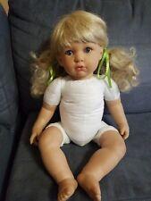 """Viynal soft heavyweight Berenguer Doll by Salvador Berenguer 21"""" blonde blue eye"""