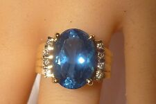 Designer 14k Diamond London Blue Topaz Gold Ring 8 Diamonds 7.50 CT Topaz Rare