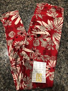 Lularoe OS Red With White Gray Flowers Leggings New